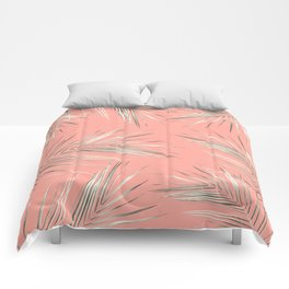 White Gold Palm Leaves on Coral Pink Comforters