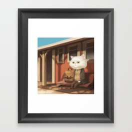 A cat waiting for someone Framed Art Print